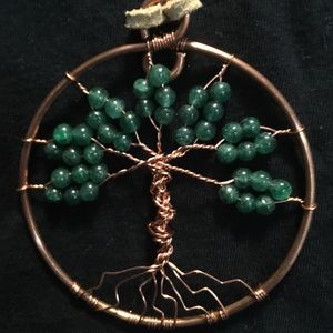 Dark Green Aventurine Tree of Life on suede cord